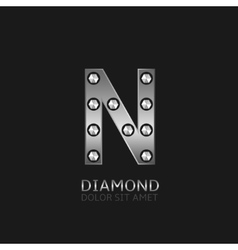 Silver N letter vector image