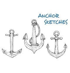 Sketch of vintage nautical anchors with rope vector