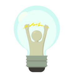 Smart light bulb icon cartoon style vector