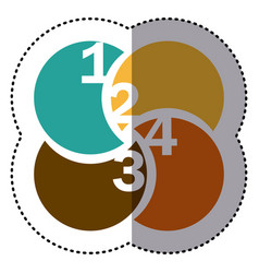 sticker colorful circular figures with numeration vector image vector image