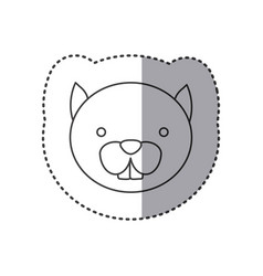 sticker of grayscale contour with face of squirrel vector image
