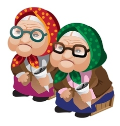 Two old women in glasses sitting with seeds vector