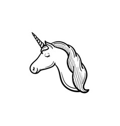 Unicorn head with horn hand drawn sketch icon vector