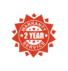 Warranty and service sign 2 year red ribbon vector