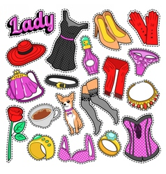 Woman fashion badges patches stickers vector