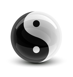 Yin and yang symbol on a glossy ball vector