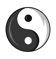 Sign yin yang icon black monochrome style vector