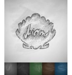 Shell miami icon hand drawn vector