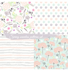 Seamless spring floral patterns set vector