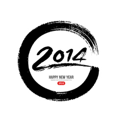 2014 new year message paint brush vector image