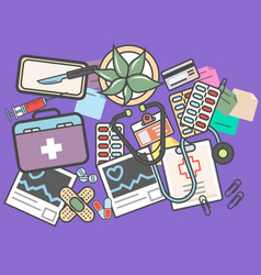 Medicine top view banner with medical equipment vector