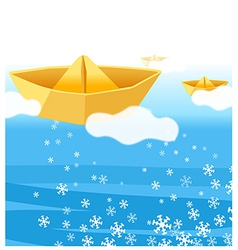 Paper boat water vector