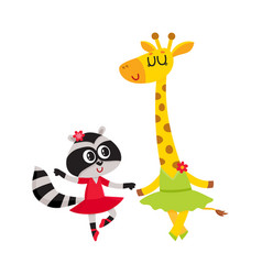 Giraffe and raccoon puppy and kitten characters vector