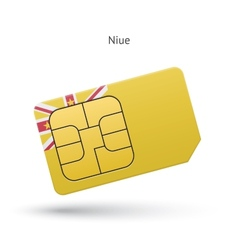 Niue mobile phone sim card with flag vector
