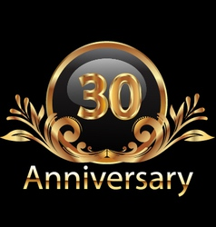 30 years anniversary birthday in gold vector image vector image