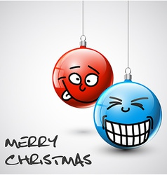 Funny christmas baubles with faces vector