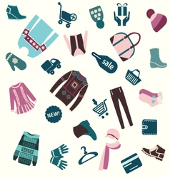 Pattern of winter clothing and shopping vector
