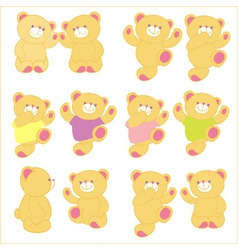 Teddy bear in different pose background vector