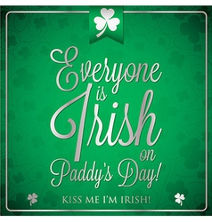 St patricks day typographic card in format vector