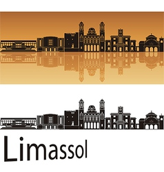 Limassol skyline in orange background vector