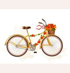 Autumn bicycle with orange flowers vector