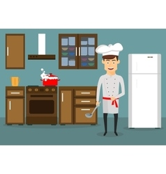 Young man cooking in kitchen at home vector