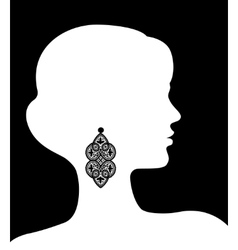 Woman with lacy earring vector