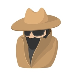 Man in black sunglasses and brown hat cartoon icon vector