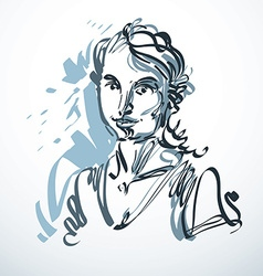 Art drawing portrait of romantic girl isolated on vector