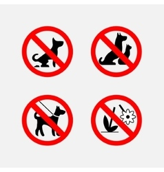 Icon signs prohibiting animals plants fully vector
