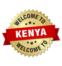Kenya 3d gold badge with red ribbon vector