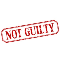 Not guilty square red grunge vintage isolated vector