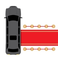 Black limousine parked near red carpet vector