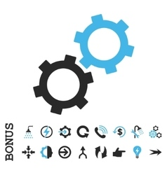 Gears flat icon with bonus vector