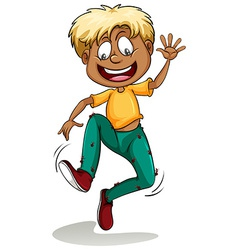 A boy with ants around his pants vector image