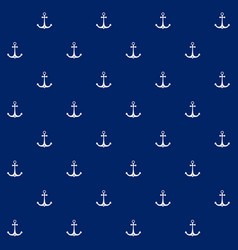 anchor on blue background seamless pattern vector image