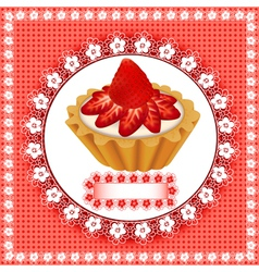 background with a fruity dessert cake vector image vector image
