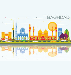 Baghdad skyline with color buildings blue sky and vector