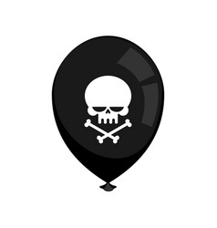 Black balloon mourning isolated skull and vector