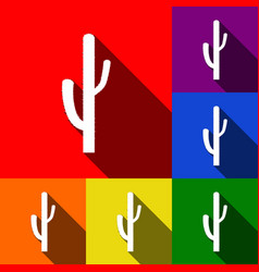 Cactus simple sign set of icons with flat vector