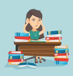 Desperate student studying with many textbooks vector