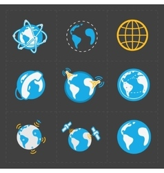 Earth icons set on dark background vector