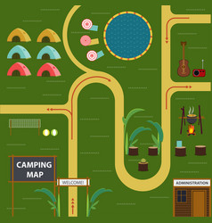 Flat camping map concept vector