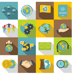global connections icons set flat style vector image vector image
