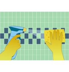 Hands in yellow gloves with spray and sponge wash vector image vector image