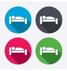 Human in bed icon rest place sleeper symbol vector