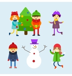 Kids playing winter games vector