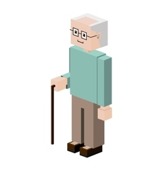 lego silhouette elder with walking stick vector image