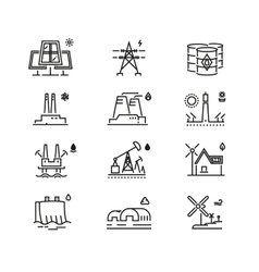 Power generations line icons different elements vector