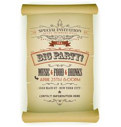 Retro party invitation on parchment vector